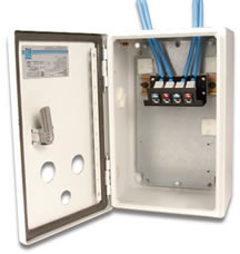 DIN rail mounted patch panel mounted inside equipment cabinet